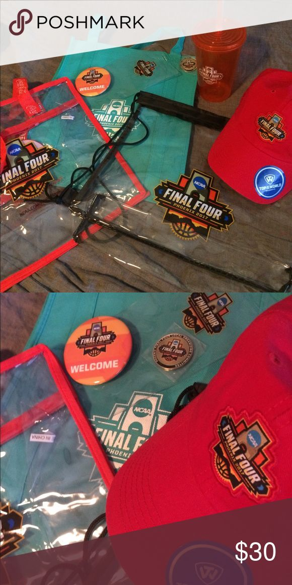 Final Four 8 Item Bundle W/COMMEMORATION COIN! Final Four 8 Item Bundle Phx '17 Includes all NWT Final 4 Clear Purse, clear backpack, hat, cup, Tote, placard, pin AND FINAL FOUR COMMEMORATION COIN!  Only 1 bundle available. Final Four Accessories