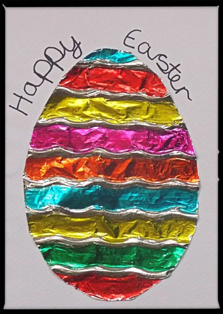 craft photos Tin foil Easter egg card
