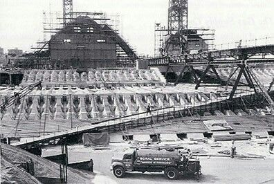 The forecourt of the Sydney Opera House during construction - Boral supplied and laid the asphalt.