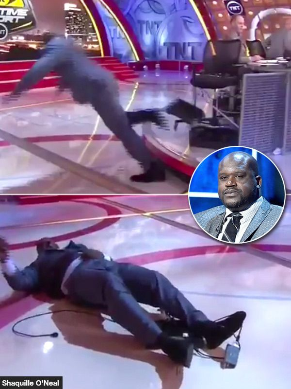 Shaq Falls Hard On His Face On 'Inside The NBA' Set —Watch