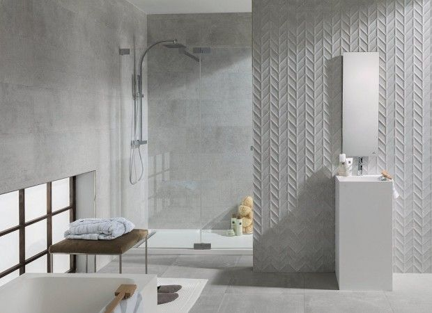 Porcelanosa Dover tile with matching textured tile
