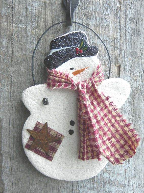 Bonhomme de neige pâte à sel Noël ornement par cookiedoughcreations