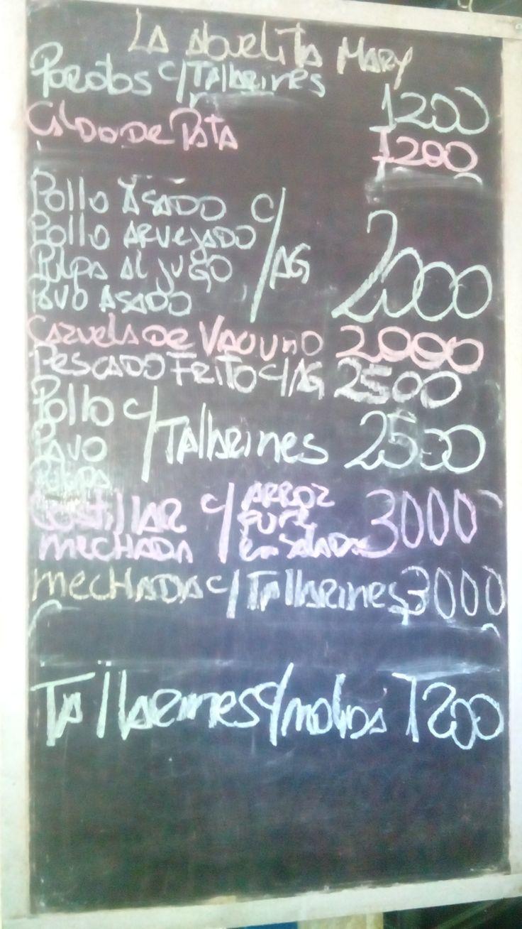 """Comida tradicional Chilena en La Vega Chica local 101 y 115 la """" Abuelita Mary """" - Porotos con Tallarines  - Caldo de Patas - Pollo Asado - Pollo Arverjado - Pulpa Al Jugo - Pavo Asado - Tallarines con Molida  - Cazuela de Vacuno - Cazuela de Chancho - Pescado Frito - Costillar - Mechada  * Agregados de Ensaladas / Pure / Arros  * Bebidas /  Té / Café"""
