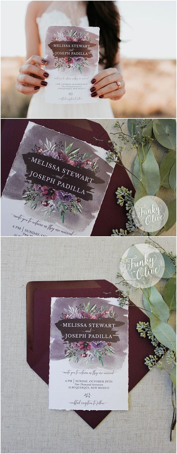 example of wedding invitation email%0A Deckled Edge Wedding Invitation Dark Moody Burgundy Plum Greenery  Watercolor Flower Hand Torn Invite Modern Calligraphy