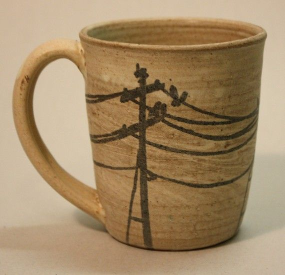 POWERLINES Stoneware Mug by GBG by GBGpottery on Etsy or go to paint a dream OR try doing this with a sharpie on a blank mug.