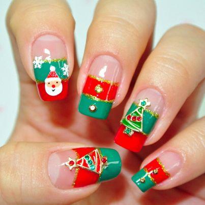 red and green: Nailart, Nail Designs, Nail Art Designs, Christmas Nails Art, French Tips, Christmas Nail Art, Nails Art Design, Holidays Nails, Nails Designs