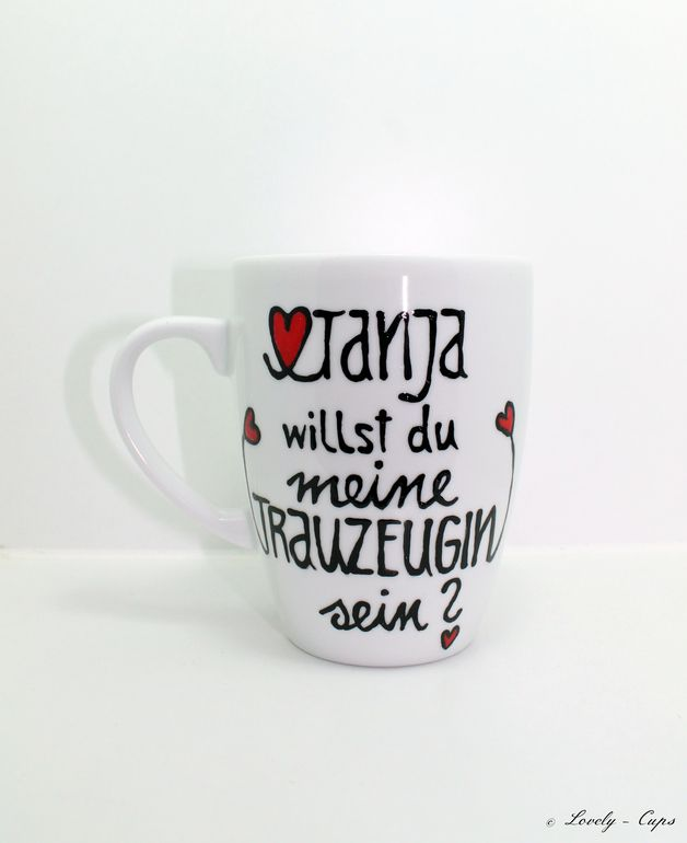 Becher & Tassen - Hochzeit Trauzeugen Geschenk Tasse mit Name - ein Designerstück von Lovely-Cups bei DaWanda