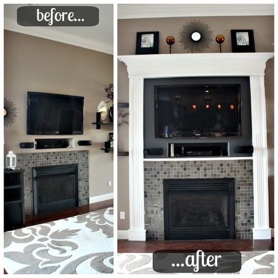 Most awesome idea for a fireplace with a tv over it
