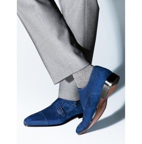 Handmade Men Monk Strap Shoes, Suede Shoes, Royal Blue Shoes, Mens Formal Shoes  #Handmade #Monkshoes