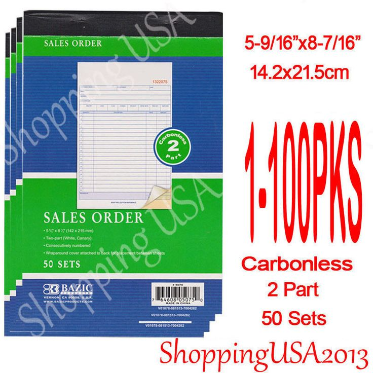 """50 Sets Per book. Features of Invoice Book 2 Pars Paper White & Yellow. Large Sale Order Book. Invoice Books: 5-9/16"""" X 8-7/16"""" (142X215mm). 