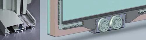 Detalles: 1. Marco inferior con riel cilíndrico. 2. Hoja acristalada con rodamientos integrados.