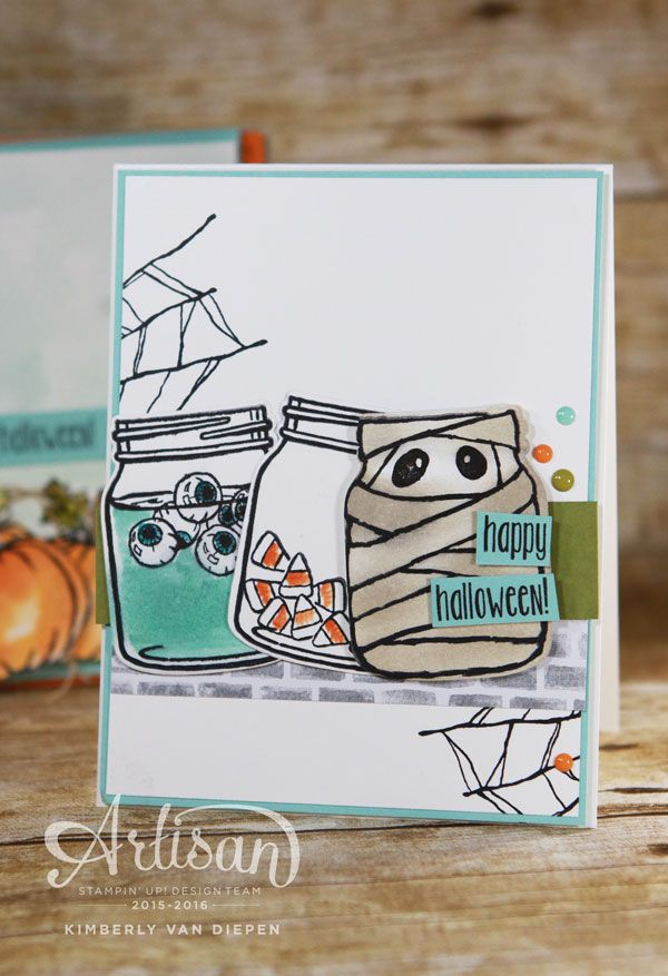 Create fun Halloween cards for all ages using the Jar of Haunts stamp set from Stampin' Up!-www.stampinbythesea.com