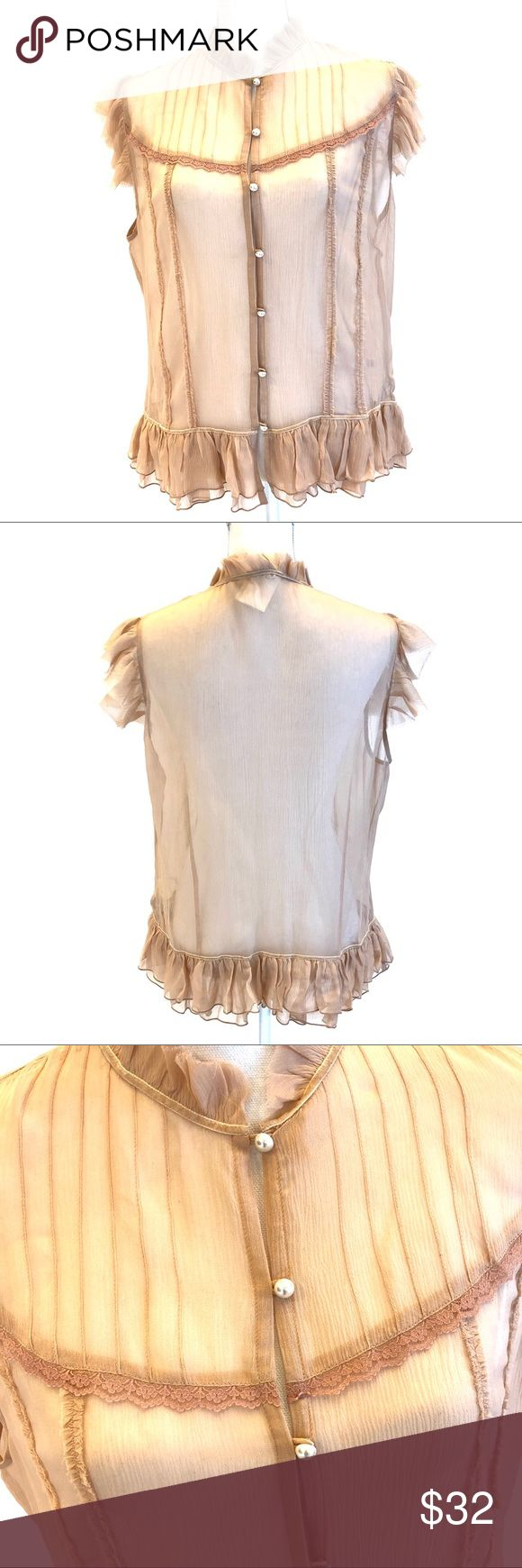 """BANANA REPUBLIC Sheer Button Front Top NWT. Banana Republic Sheer Button Front Top, Sz XL. Gray edge sleeves and ruffle hem. 100% silk. Approx. 21.5"""" pit to pit, 25"""" total length, laying flat. Banana Republic Tops"""