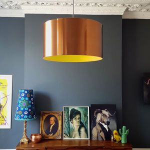 Brushed Copper Lampshade With Coloured Linings - on trend: copper