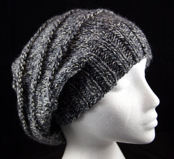 Hand knitted 'purl ridges' woollen slouchy beanie hat in 'Granite Marl' grey. Handknit hat. Knit hat. Wool hat