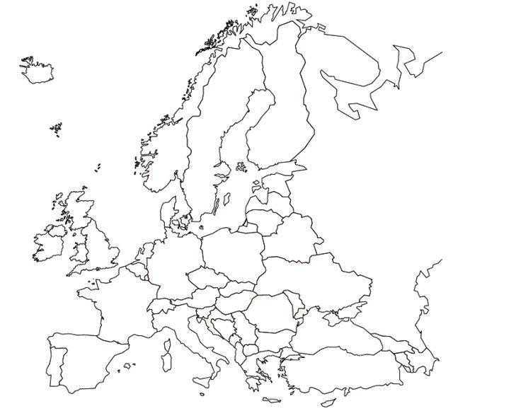 Slepa Mapa Evropy A4 Mapy Sveta Evropa
