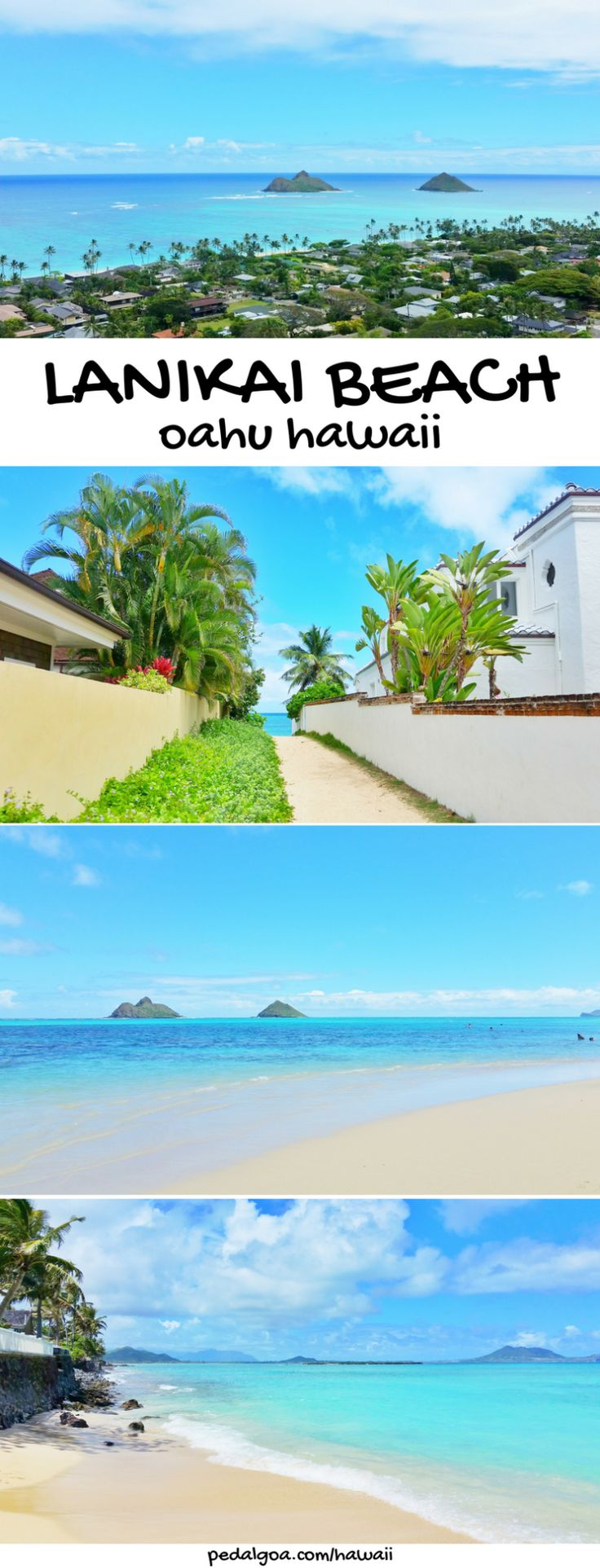 East Oahu, Windward Oahu, Hawaii: Lanikai Beach, Kailua.  Things to do in Oahu with pillbox hiking trail, beaches, snorkeling, temple.  A little bit away from Honolulu and Waikiki. Part of what to see in Hawaii on a budget with adventure for the best Hawaii vacation in the US! #hawaii #oahu