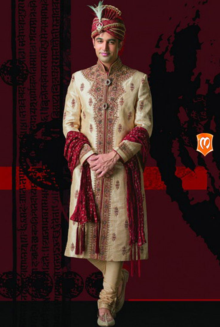 The Manyavar Royal Silk Sherwani for Men :- This sherwani mainly coated with layers of silk is an ecstatic ethnic creation. Thick thread and sequin work and embroidered innovation on the cloth piece makes it the one for the groom. #Manyavar #Sherwani #Wedding #Indian Wedding Wear #Manyavar Wedding Wear #Celebration Wear #Special Occasion #Indian Ethnic Wear