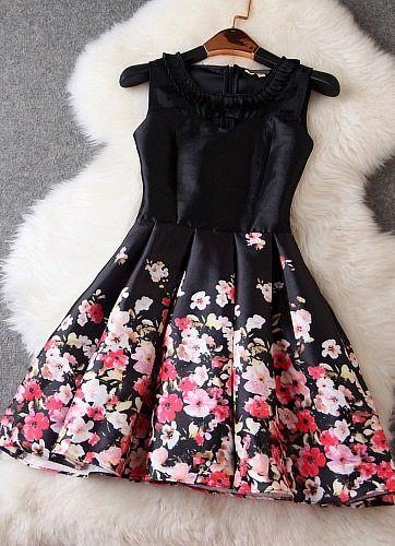 Floral Dress In Black