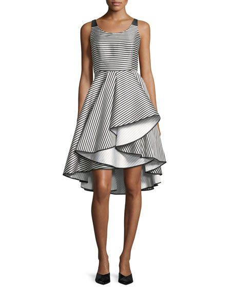 Halston Heritage striped cocktail dress. Scoop-Neck Striped Cocktail Dress w/ Dramatic Skirt