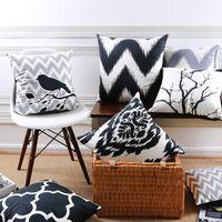 Oreiller plantes Noir d'encre lignes géométriques taie d'oreiller pour Voiture bureau lombaire oreiller accueil décorer canapé coussins