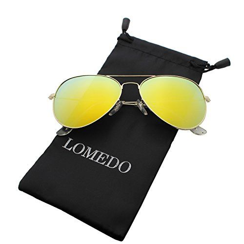 Yellow Mirrored W/ Flash Lens Polarized Aviator Sunglasses for Small Face Women