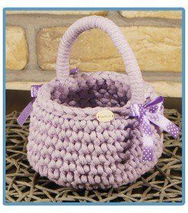 ręcznie robiony koszyk nela handmade ze sznurka bawełnianego