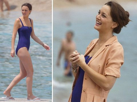 Leighton Meester's simple elegant maillot in the film Monte Carlo. You could add a cute belt to this outfit but a cover up wokrs well too