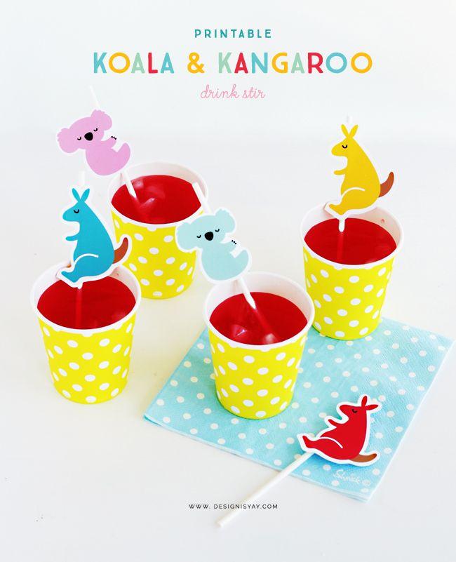 Aussie Day Printable Koala & Kangaroo Drink Stir   DESIGN IS YAY!