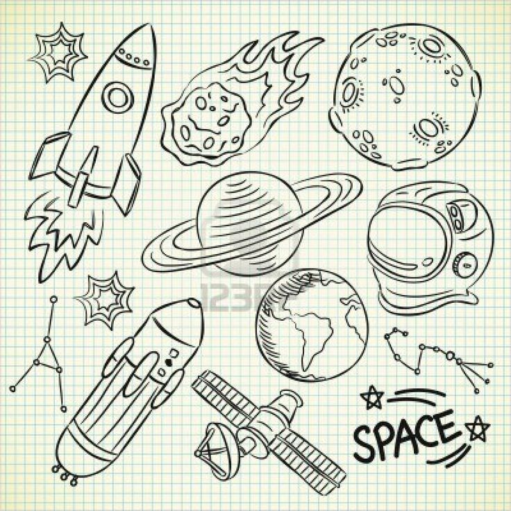 space doodle set Stock Photo