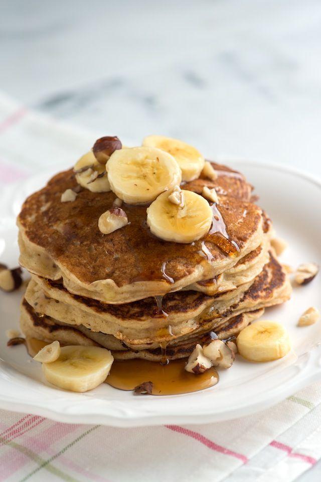 Spiced Buttermilk Banana Pancakes Recipe on inspiredtaste.net -- These are SO good! | @inspiredtaste