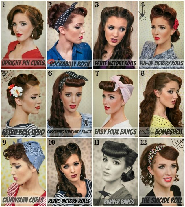 Which hairstyle is your favorite!! We're voting number 6, gotta love those bumper bangs!! :: Pin Up Girl Hair:: Vintage:: Retro Hairstyles