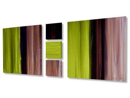 Stripes of Cream, Lime and Choco  Lime green canvas art painted to order by Rob Haigh in lime green, cream, coffee and chocolate brown.