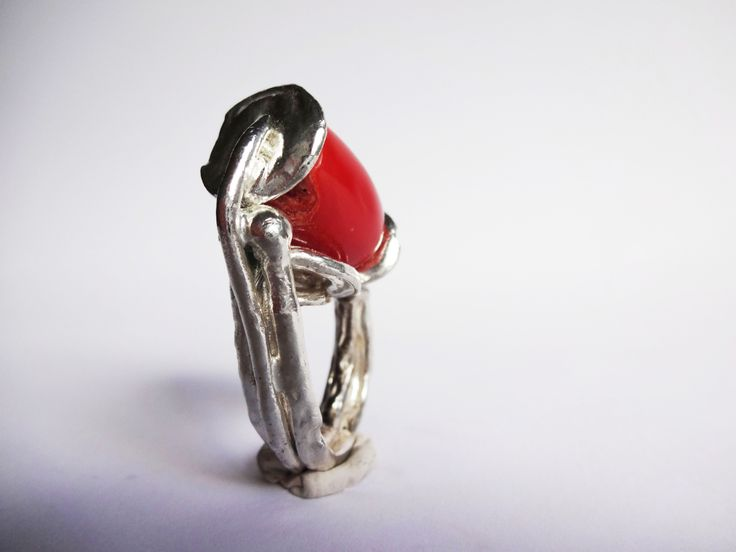 #handmade #ring in #silver and #coral #jewelry  www.facebook.com/gioiellifenzl