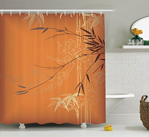 Bamboo Branches And Flowers Illustration In Vivid Color Eastern Nature Theme Polyester Fabric Bathroom Shower Curtain Set With Hooks Orange Gold Brown