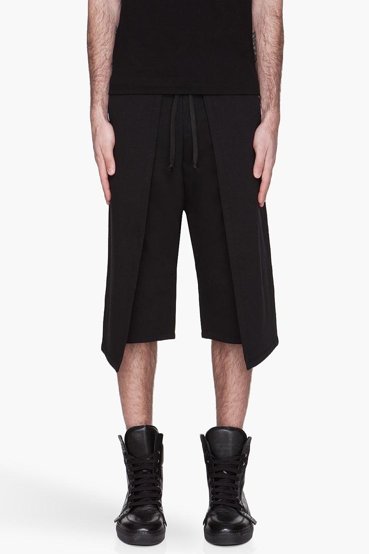 GARETH PUGH Black wrap-around Sweat Shorts