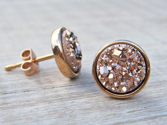 Bridesmaid gift, rose gold druzy studs, tiny stud earrings, druzy earrings, 8mm studs, bridesmaid jewelry, rose gold earrings, raw stone