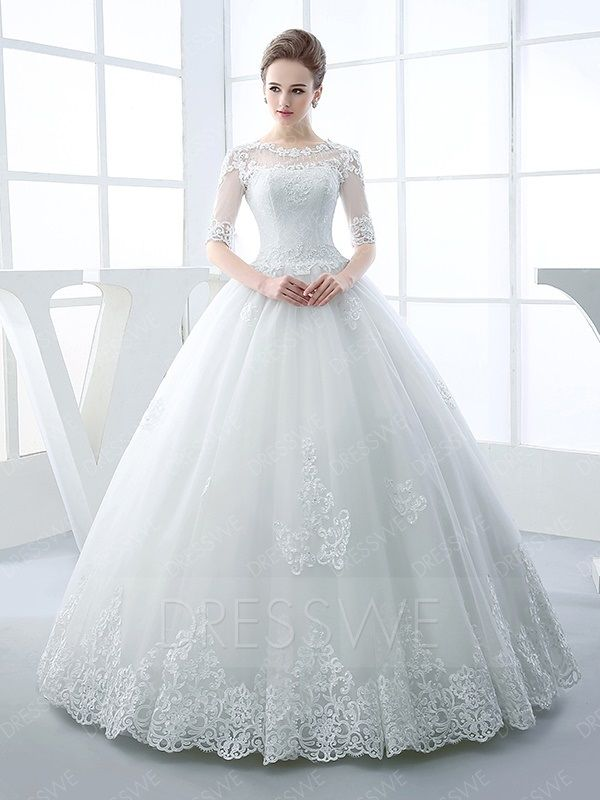 $ 202.85 Dresswe.com Fitted Half Sleeve Scoop Neck Appliques Beading Ball Gown Hot Wedding Dress