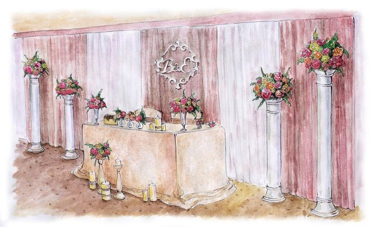 Блог Юлии Каюды: Эскиз свадебного оформления зала