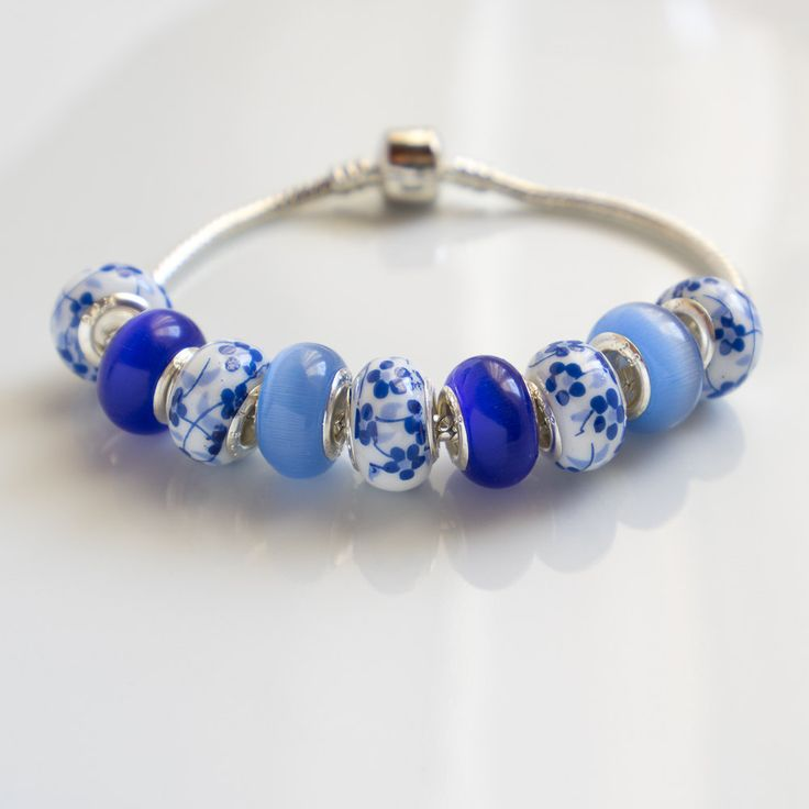 European style large hole glass beads - Set of matching European style large hole glass beads blue white set lampwork glass . by CretanHareCreations on Etsy