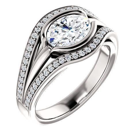 Diamond Rings : 1.25 Ct Oval Ring 14k White Gold | Bridal Rings | Wedding Rings | Ring of the da
