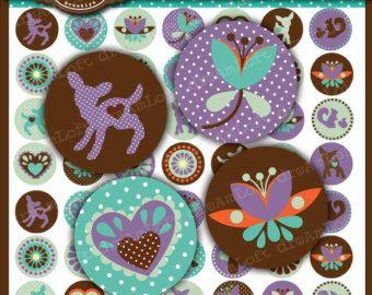 El Dandy Doe colección 1 pulgada hoja del círculo de Collage Digital para tapas de botellas, joyería, imanes, papelería, invitaciones, arcos
