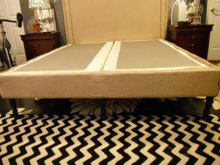 Blue is the New Neutral: Rainy Day Saturday: Faux Bedframe. Upholstered boxsprings with legs attached!
