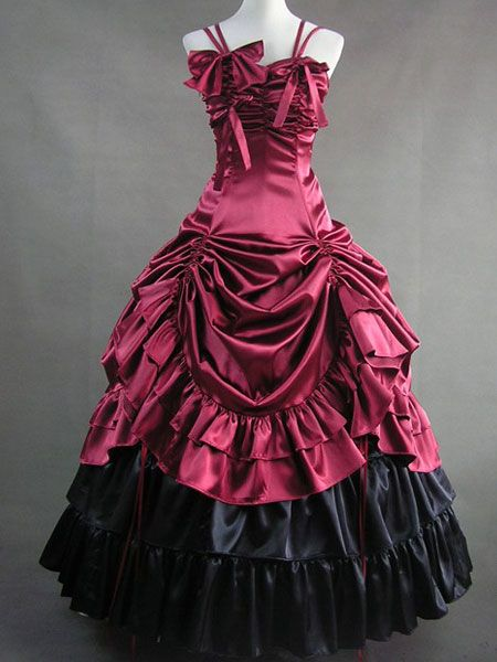 Classic Lolita Aristocrat Rococo Luxury Satin Long Dress Ball Go
