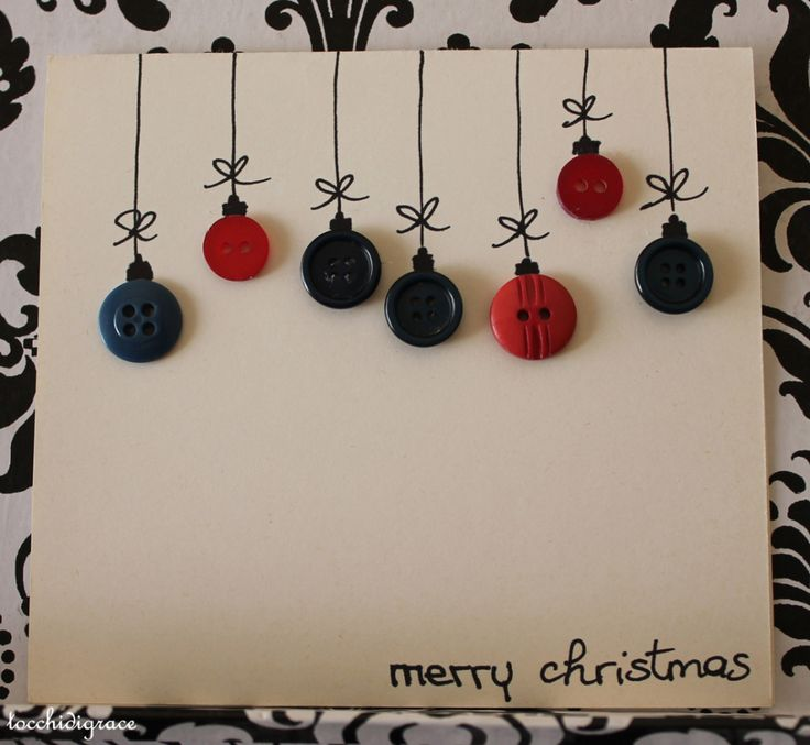 Button ornament Christmas card