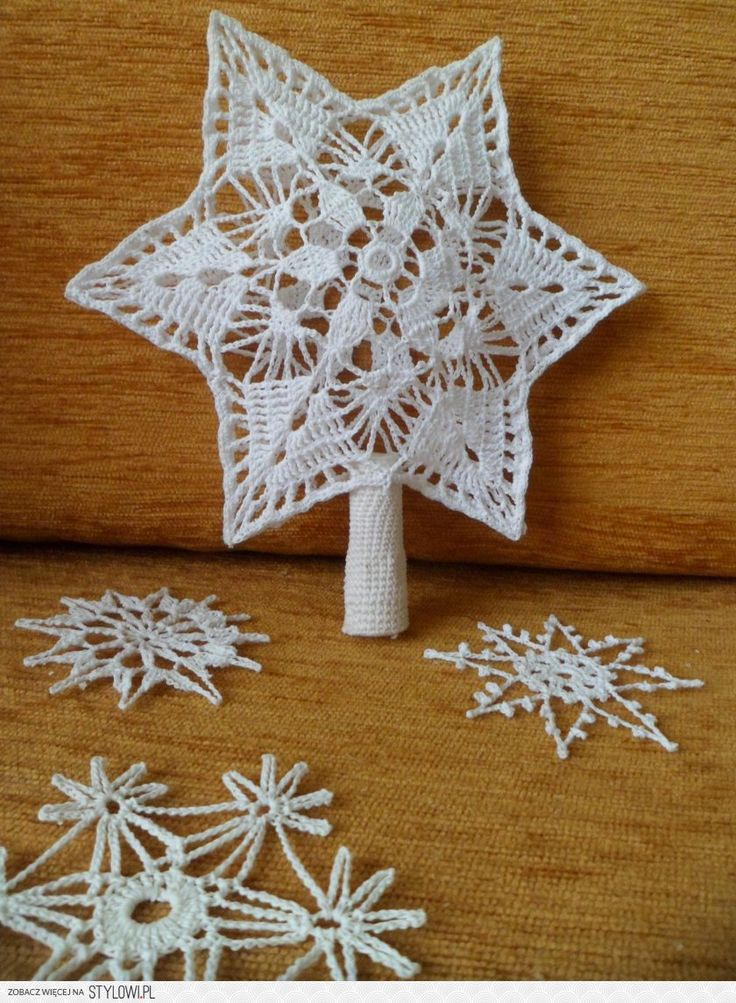 Crochet Christmas Tree Topper and Snowflakes