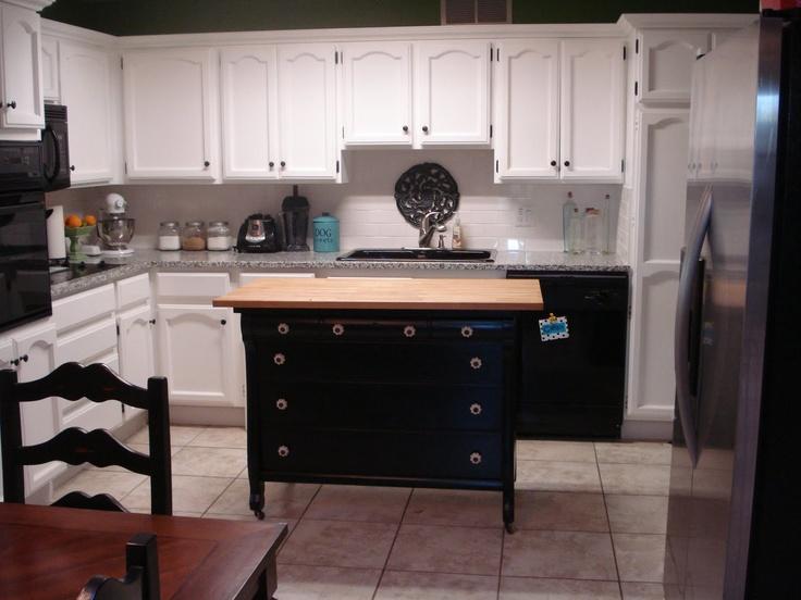 Turn A Dresser Into A Kitchen Island: Old Dresser Turned Into Kitchen Island