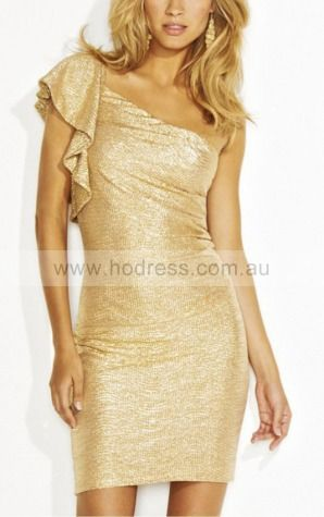 Sheath One Shoulder Knee-length Polyester Natural Formal Dresses gt3176--Hodress