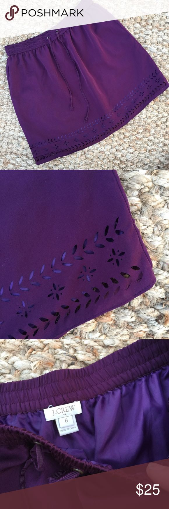 J Crew Factory Laser Cut Skirt Drawstring with elastic waist. Great plum color! J. Crew Factory Skirts Mini