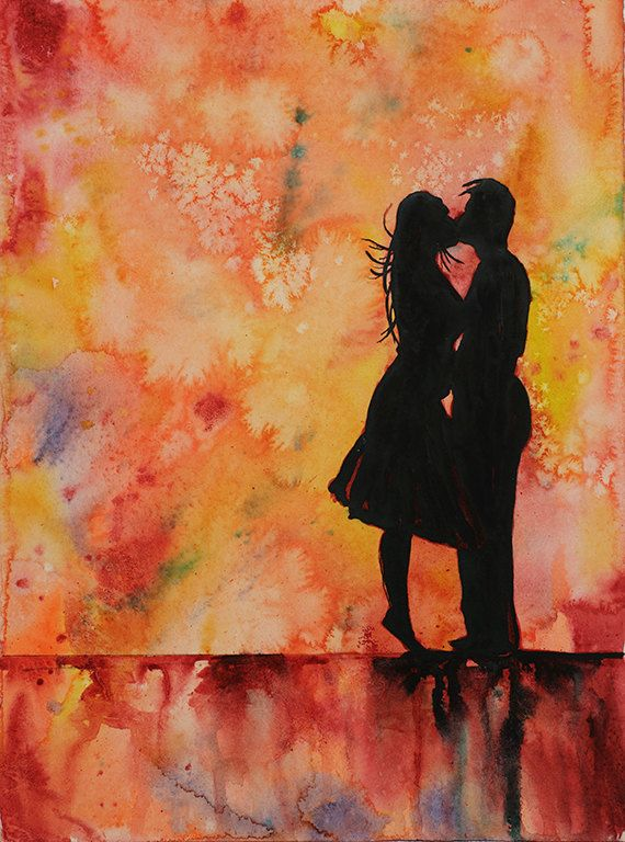 Watercolor painting of silhouette of couple kissing in front of dramatic background